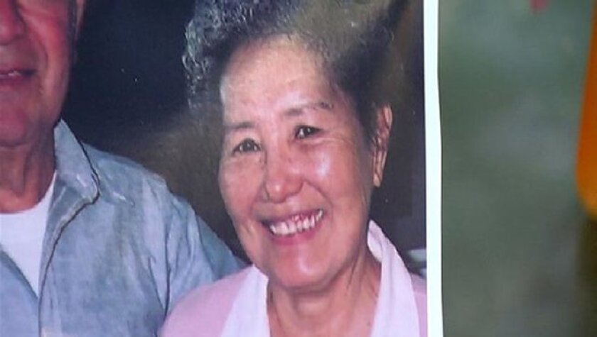 A family photo shows Emako Mendoza, 75, who was mauled at her Paradise Hills home by her neighbor's two pit bulls, authorities said.