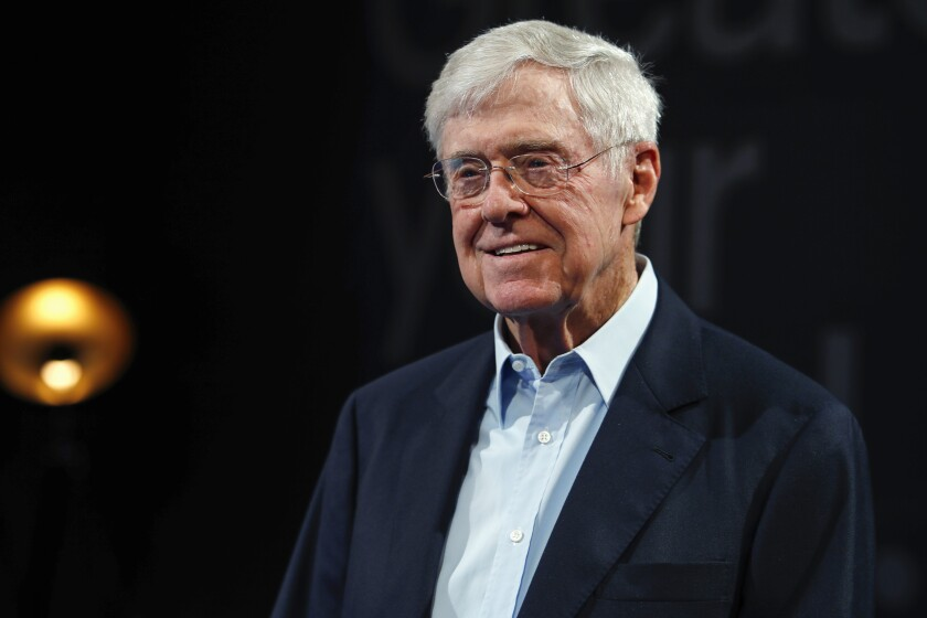 FILE - In this June 29, 2019, file photo, Charles Koch, chief executive officer of Koch Industries, at The Broadmoor Resort in Colorado Springs, Colo. The Supreme Court has ordered California to stop collecting the names and addresses of top donors to charities. The justices voted 6-3 along ideological lines to side with two nonprofit groups, including one with links to billionaire Charles Koch, that argued California's policy violates the First Amendment. (AP Photo/David Zalubowski, File)