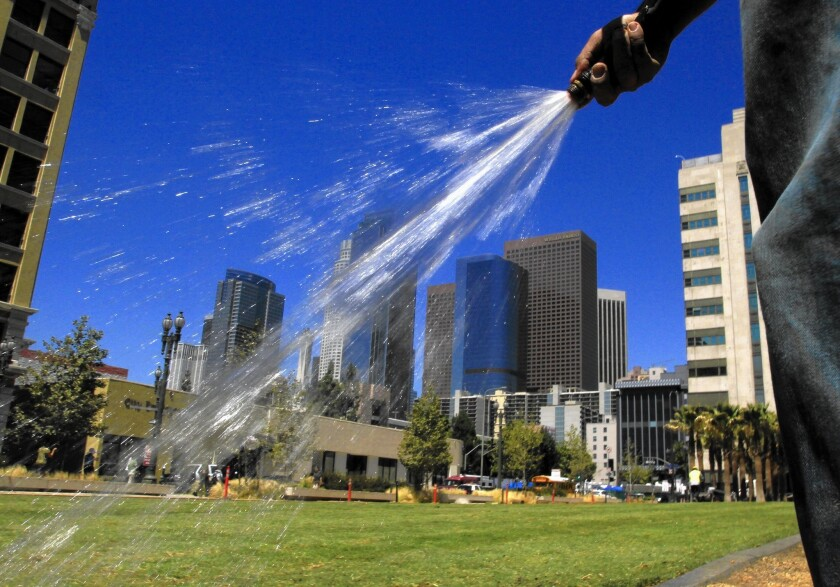 Under Mayor Eric Garcetti's plan to cut water usage, lawns at city buildings and street medians can no longer be watered more than two days a week, and the Department of Recreation and Parks must cut its water consumption over the most recent fiscal year.