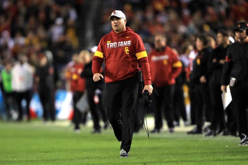 USC coach Clay Helton.