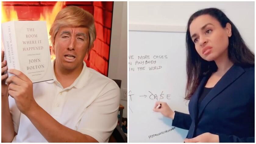 Trump impersonators J-L Cauvin, left, and Sarah Cooper.