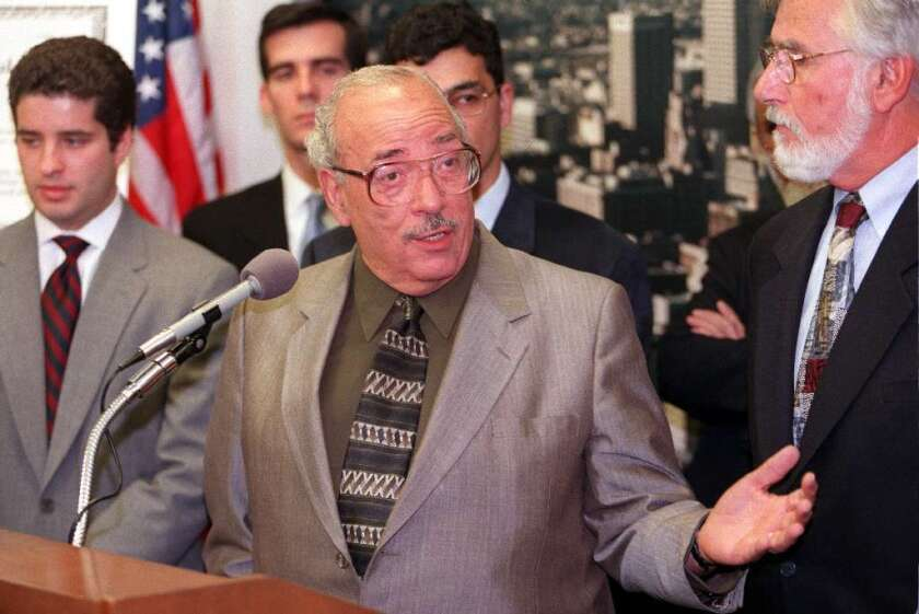 """Maher Hathout, seen here at a 1999 press conference with Jewish leaders to announce the establishment of a """"Code of Ethics in Jewish-Muslim Diaolgue,"""" was a strong advocate for interfaith relations in Southern California."""