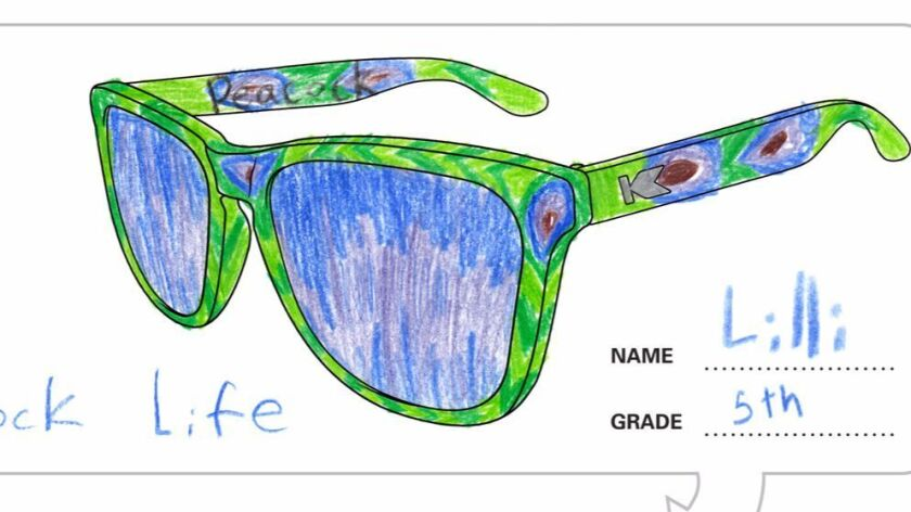 "Lilli Hayes' ""Peacock Life"" sunglasses design."