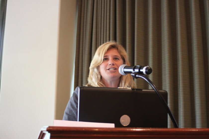 Heather Hofflich, osteoporosis expert and associate clinical professor of medicine at UCSD School of Medicine, speaks at the Howell Foundation lunch. Ashley Mackin