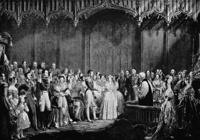 Illustration of the Feb. 10, 1840, wedding of Queen Victoria and Prince Albert in the Chapel Royal at St. James's Palace in England. Victoria's white gown set a new wedding tradition.