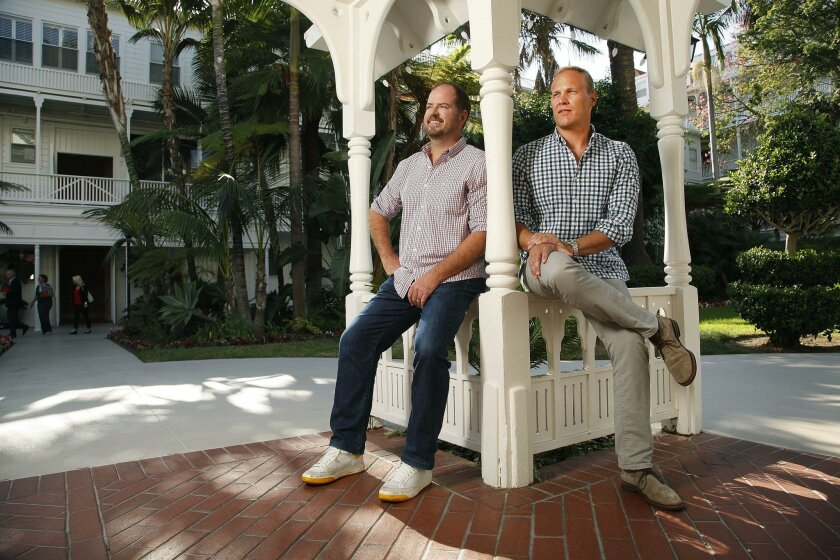  Brew Johnson, left, and Brett Crosby, co-founders of PeerStreet, pose for a photo at the Hotel Del Coronado.