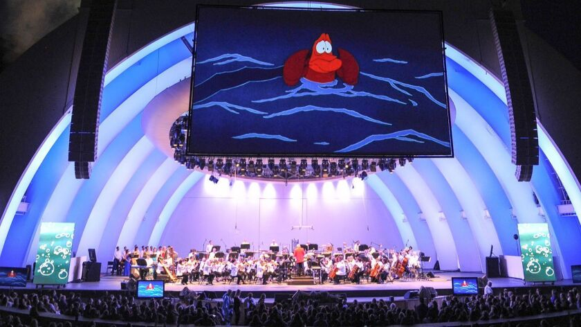 """""""The Little Mermaid"""" plays with live music accompaniment at the Hollywood Bowl in 2016."""