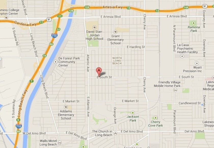 A map shows the approximate location of a church in Long Beach where a man was electrocuted while working in the attic.