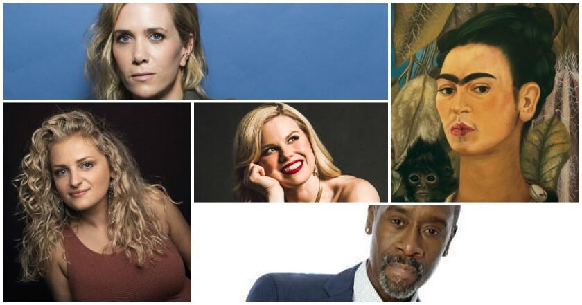 Kristen Wiig, Megan Hilty, Don Cheadle, Ali Stroker and self-portrait by Frida Kahlo