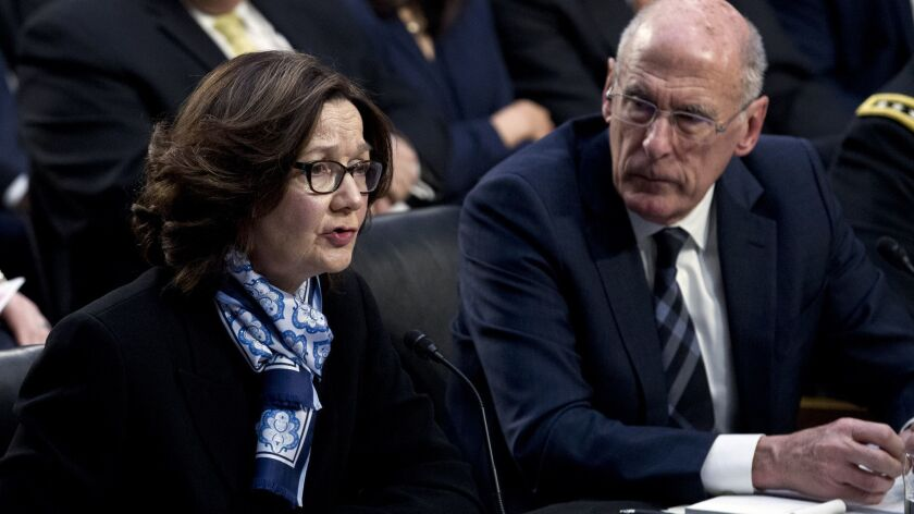 CIA Director Gina Haspel, with Director of National Intelligence Daniel Coats, testifies before the Senate Intelligence Committee in Washington on Jan. 29.