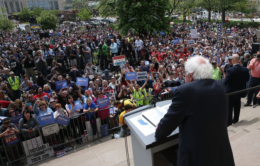 Democratic presidential candidate Bernie Sanders speaks during a rally at the Indiana state Capitol on Friday in Indianapolis.