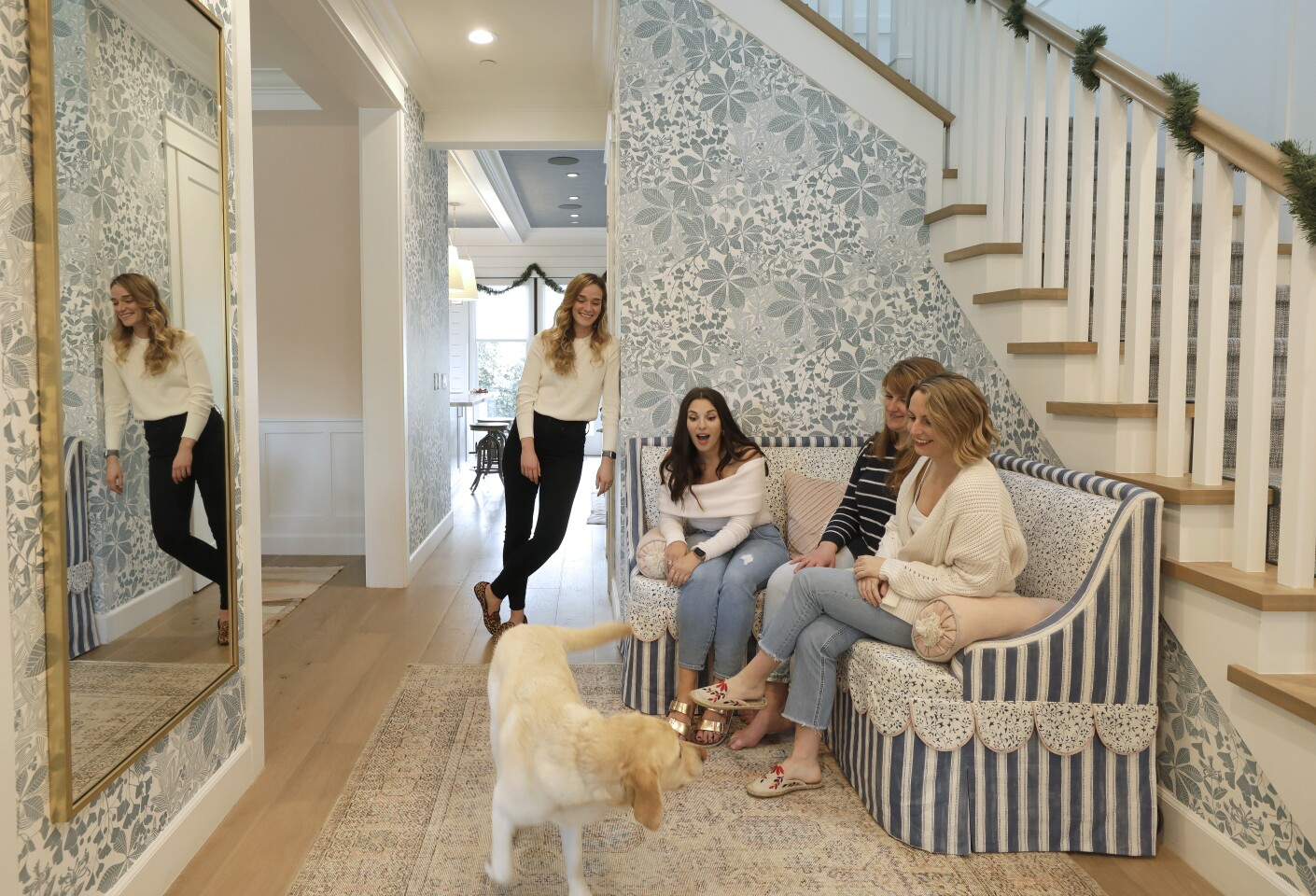 """Victoria Aveyard, second from left, shares her house with her dog Indy; roommates Tori Ahl, far right; Morgan Bowser, second from right. Jen Rohrs, left, is a former roommate. The author of the popular young adult fantasy series, """"Red Queen,"""" bought her """"modern farmhouse"""" in 2017."""