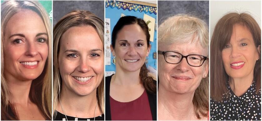 Teachers of the Year 2021, from left: Andrea Carlson, Heather Chiaro, Tori Geyer, Carole LeCren and Stephani McCabe-Halloran.