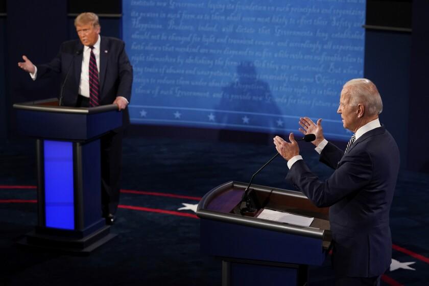 President Trump and  former Vice President Joe Biden exchange points in first debate.