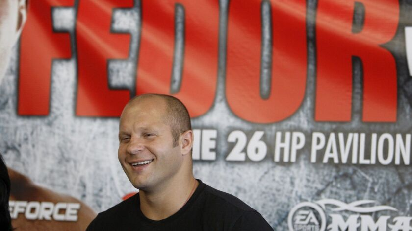 Mixed martial arts fighter Fedor Emelianenko, 42, is scheduled to face Ryan Bader at the Forum on Saturday night.