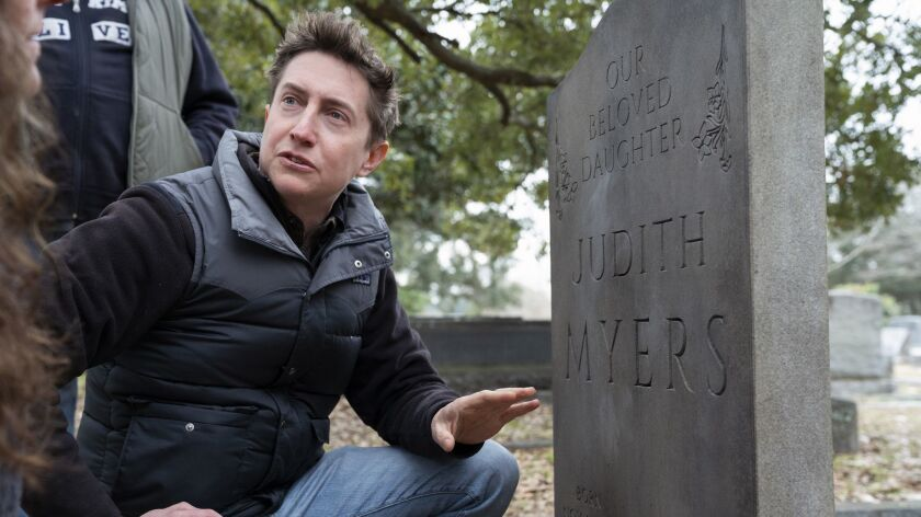 "Director David Gordon Green, at the gravesite of Michael Myers' sister, on the set of 2018's ""Halloween."" The film is expected to remain atop the box office in its second weekend of release."