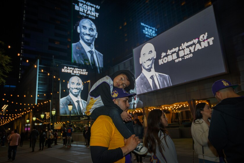 Memorial for Kobe Bryant at L.A. Live