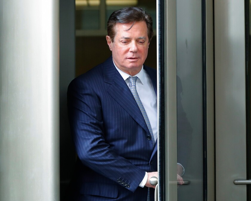 Paul Manafort leaves the federal courthouse in Washington, D.C., on Feb. 14, 2018.