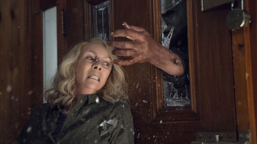 """This image released by Universal Pictures shows Jamie Lee Curtis in a scene from """"Halloween,"""" in the"""