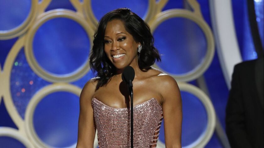 """Regina King from accepts the best actress in a supporting Role in any Motion Picture award for """"If Beale Street Could Talk"""" during the 76th Annual Golden Globe Awards."""