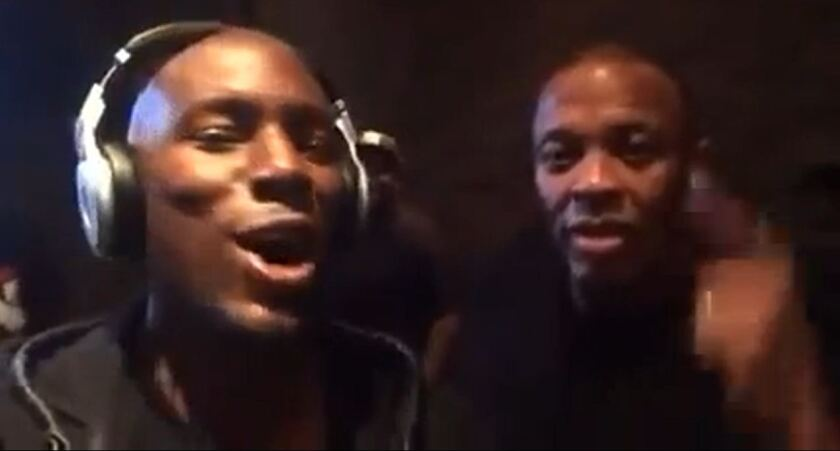 Tyrese Gibson and Dr. Dre in a video posted to Facebook in which Dre boasts of becoming hip-hop's first billionaire after news leaked of a proposed sale of his Beats company to Apple.