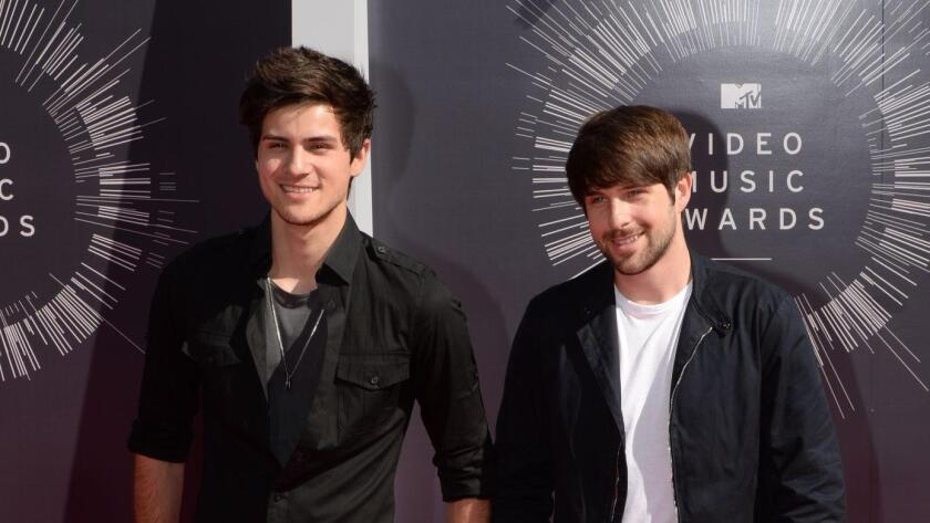 YouTube stars Anthony Padilla, left, and Ian Andrew Hecox arrive at the MTV Video Music Awards last month in Inglewood.