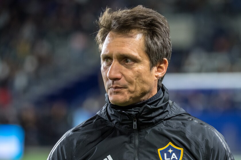 Galaxy coach Guillermo Schelotto looks on during a friendly match against Toronto FC in February.