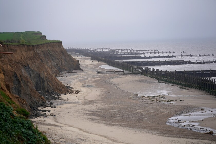 The cliffs in Great Yarmouth, England, have wildly eroded recently due to climate change.