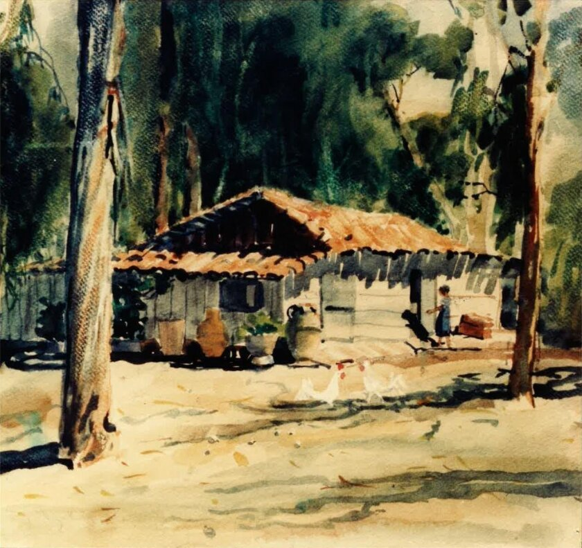 Artist Georgeanna Lipe caught this view of the home and workshop of Cornelio and Matiana Rodriguez.