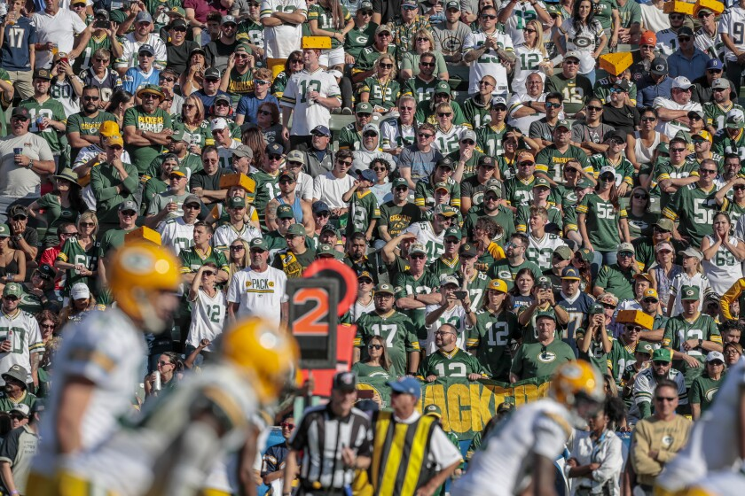 It's difficult to spot Chargers fans in the stands because of the amount of Green Bay Packers followers in L.A. for Week 9 of the NFL season.