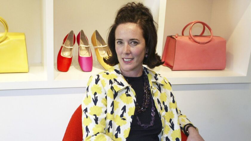 FILE - In this May 13, 2004, file photo, designer Kate Spade sits during an interview in New York. S