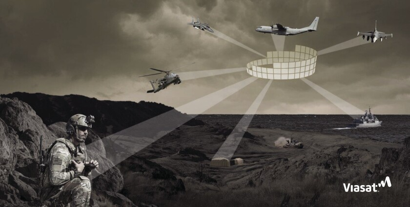 The above illustration highlights the Link 16 data communications system used by coalition armed forces for situational awareness.