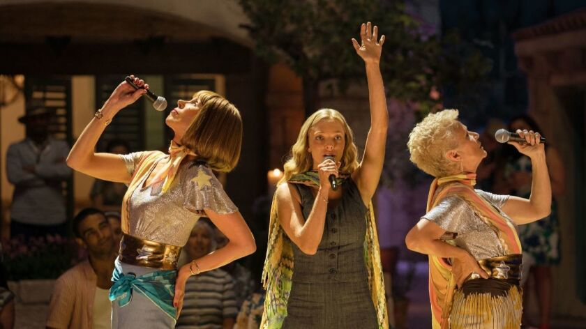 Christine Baranski as Tanya, Amanda Seyfried as Sophie and Julie Walters as Rosie in Mamma Mia! Here