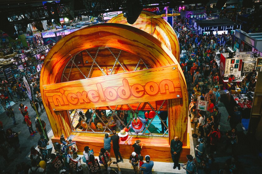 Fans crowd the Nickelodeon booth at Comic-Con in San Diego
