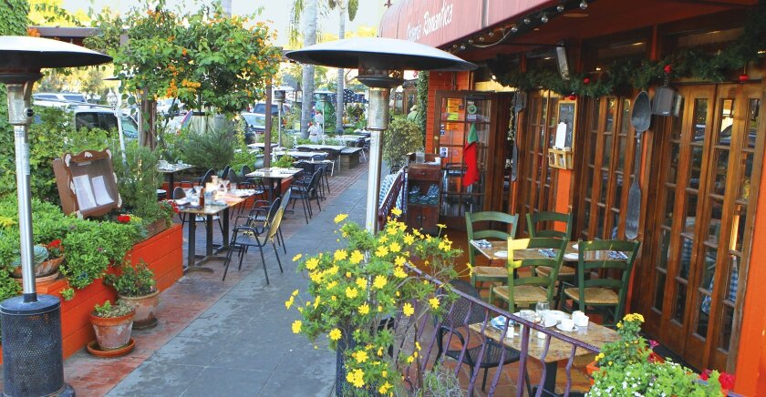 Patio dining and tables along the sidewalk are pictured in 2016 at Osteria Romantica on Avenida de la Playa in La Jolla.