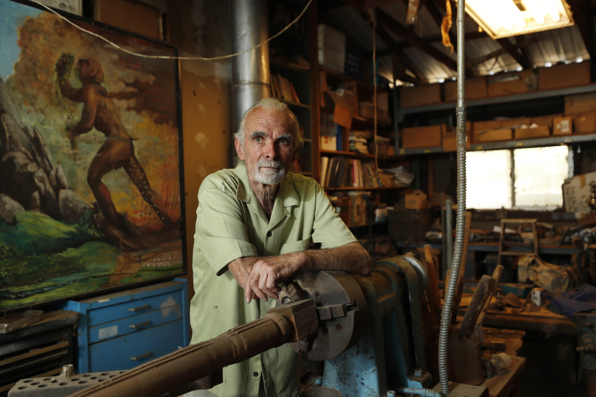 Longtime conservation activist Duncan McFetridge stands in his workshop at his Descanso home on Wednesday, May 12, 2021.