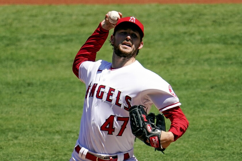 Angels starting pitcher Griffin Canning throws during the first inning against the Seattle Mariners