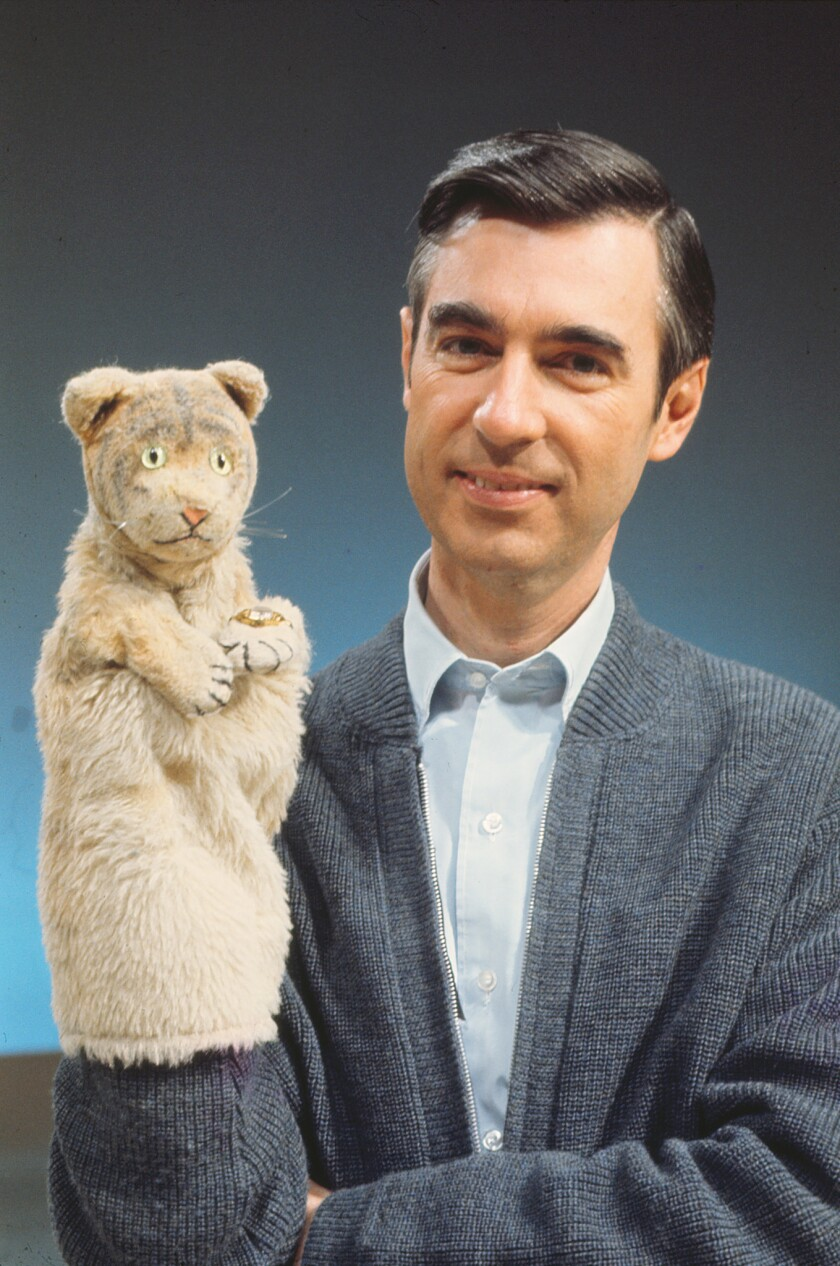 ***SUMMER SNEAKS 2018*****Fred Rogers with Daniel Tiger from his show Mr. Rogers Neighborhood in the