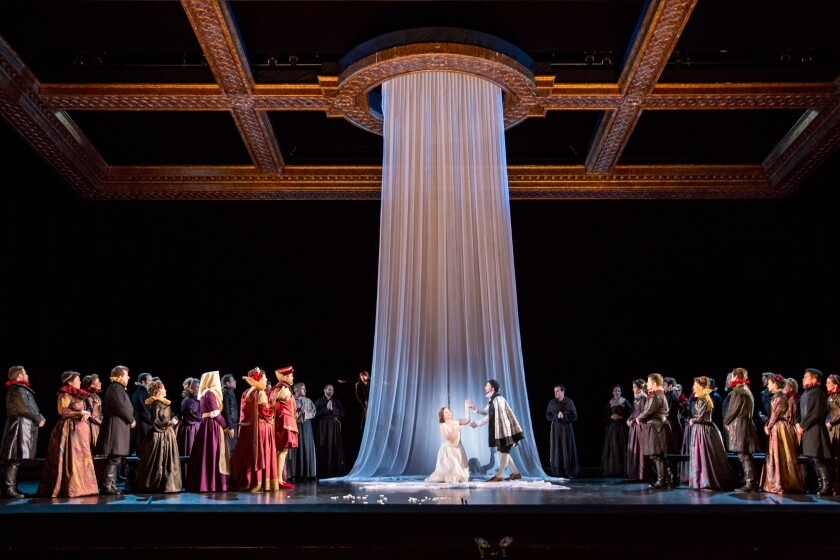 """The scenic design for San Diego Opera's 2022 production of """"Romeo et Juliette."""""""