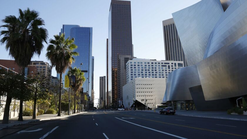 LOS ANGELES, CA: September 7, 2015 - The Walt Disney Concert Hall, right, and The Broad museum, as