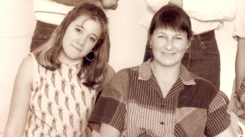 Karen Hartman (left) with Playwrights Project founder Deborah Salzer in 1986.