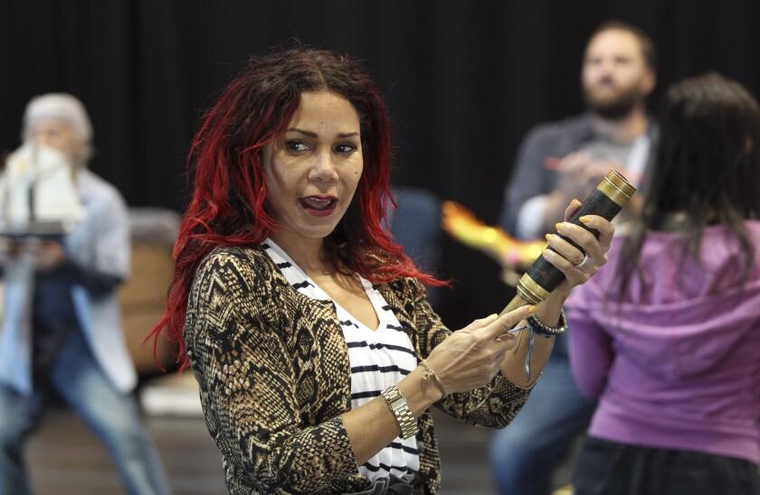 "Daphne Rubin-Vega rehearses a scene from ""Miss You Like Hell"" at La Jolla Playhouse."