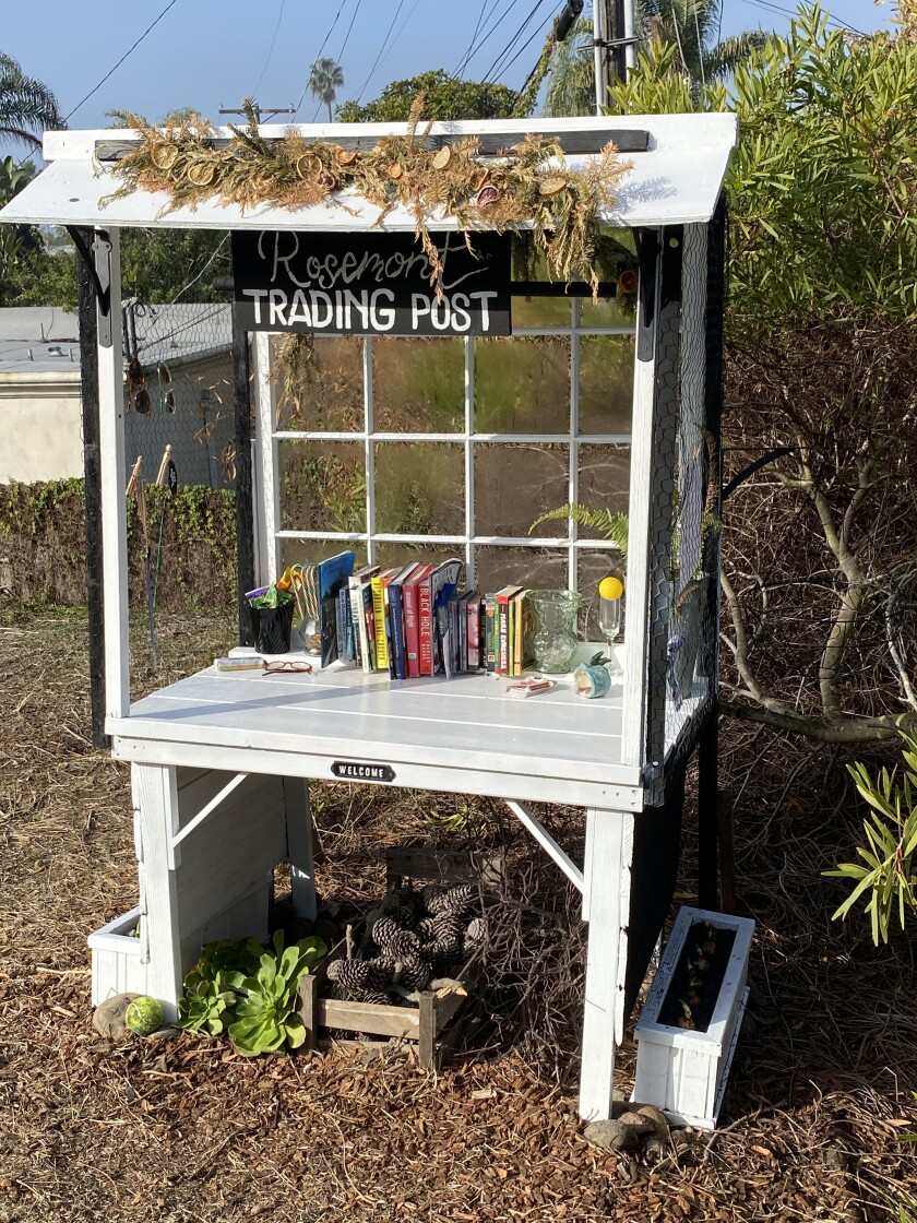 Rozanne Edwards built and maintains the Rosemont Trading Post on the La Jolla Bike Path.