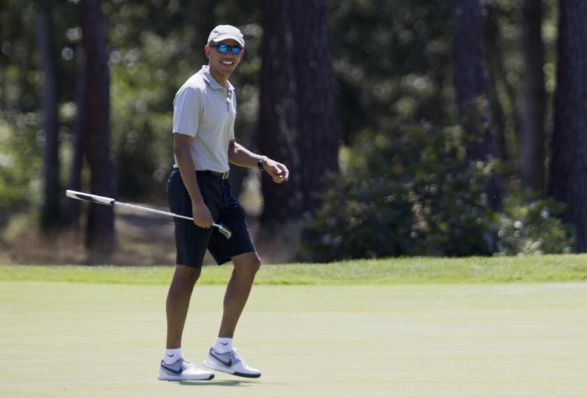 President Obama golfs on Martha's Vineyard.