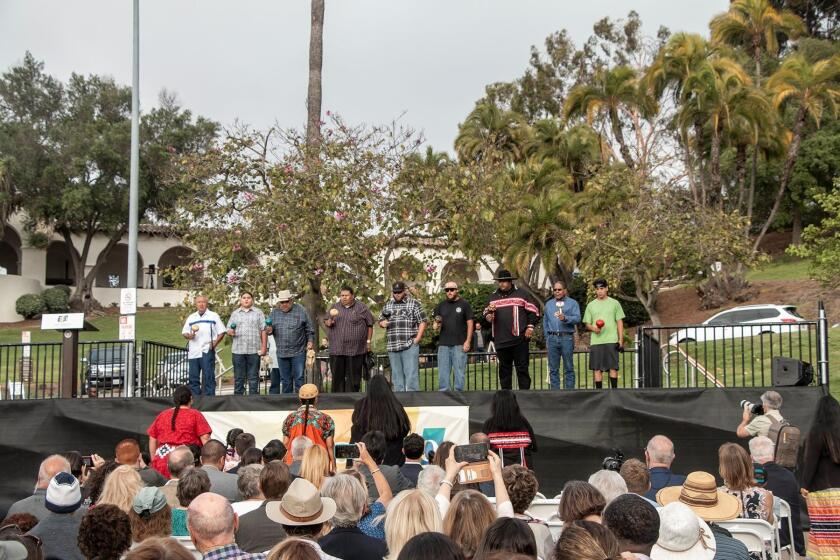 Members of the Kumeyaay Nation sing traditional bird songs. The July 16, 2019 event featured the dedication and addition of a Kumeyaay flag to Presidio Park in San Diego.
