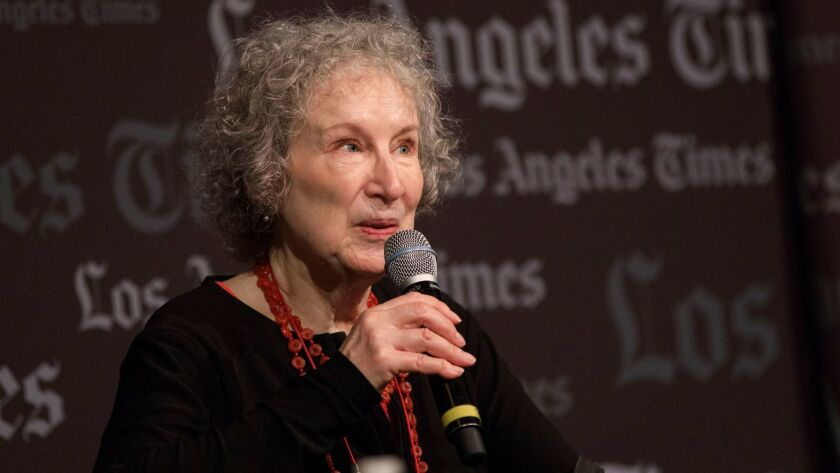 Margaret Atwood, author of The Handmaid's Tale, speaks about her book during the Los Angeles Times F