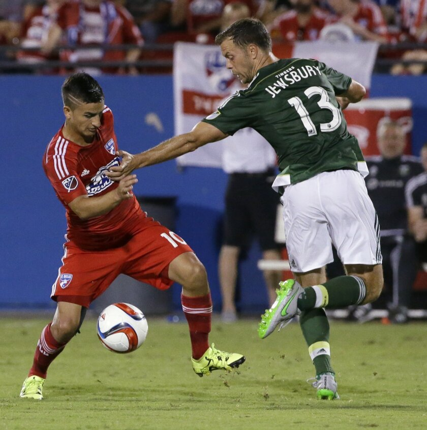 FC Dallas midfielder Mauro Diaz (10) turns the ball against Portland Timbers midfielder Jack Jewsbury (13) during the second half of an MLS soccer game in Frisco, Texas, Saturday, July 25, 2015. FC Dallas won 4-1. (AP Photo/LM Otero)
