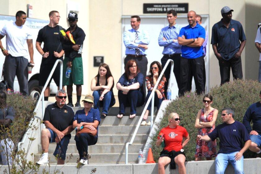 Fans watch local athletes run through their drills at SDSU.