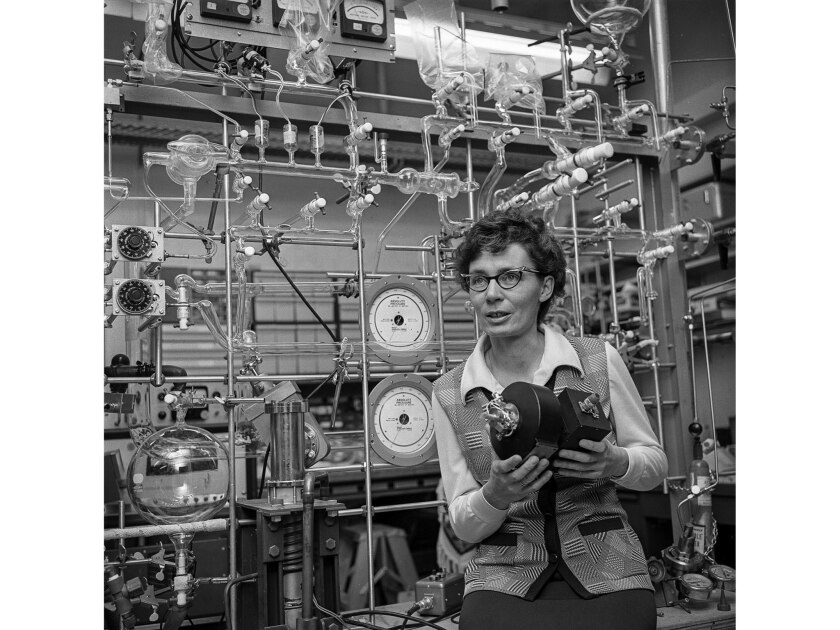 March 1972: Virginia Carter, space physicist in the space physics laboratory at Aerospace Corp. She
