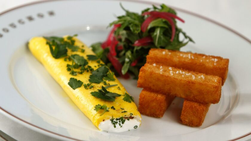 An omelet at Bouchon Beverly Hills. The restaurant, bar and bakery will close at the end of the year.